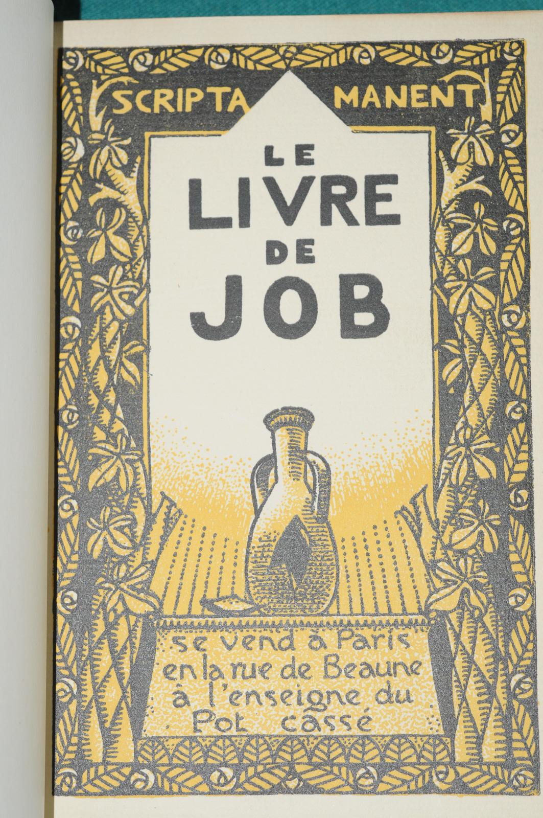 le livre de job paris a l 39 enseigne du pot cass 1928